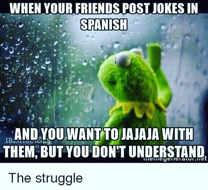 When your Spanish friends post jokes in Spanish and you want to jajaja with them, but you don't understand. #SpanishJokes #chistesobreespañoles #simplespanish #spanishmemes #kermitmeme #kermitmemes #kermitthefrog #kermitthefrogmeme #kermitthefrogmemes #spanish #spanishlanguagepic.twitter.com/uskryE5OgT