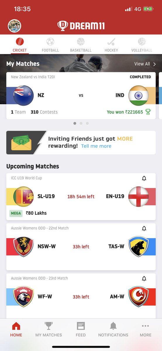 Played #dream11 after 3 months but comeback is not bad, invested around 85k , almost 95% leagues won  .  #INDvsNZ #cricket #Dream11 #IndiaVSNewZEaland #icc #bcci<br>http://pic.twitter.com/ymsvS0ek3w
