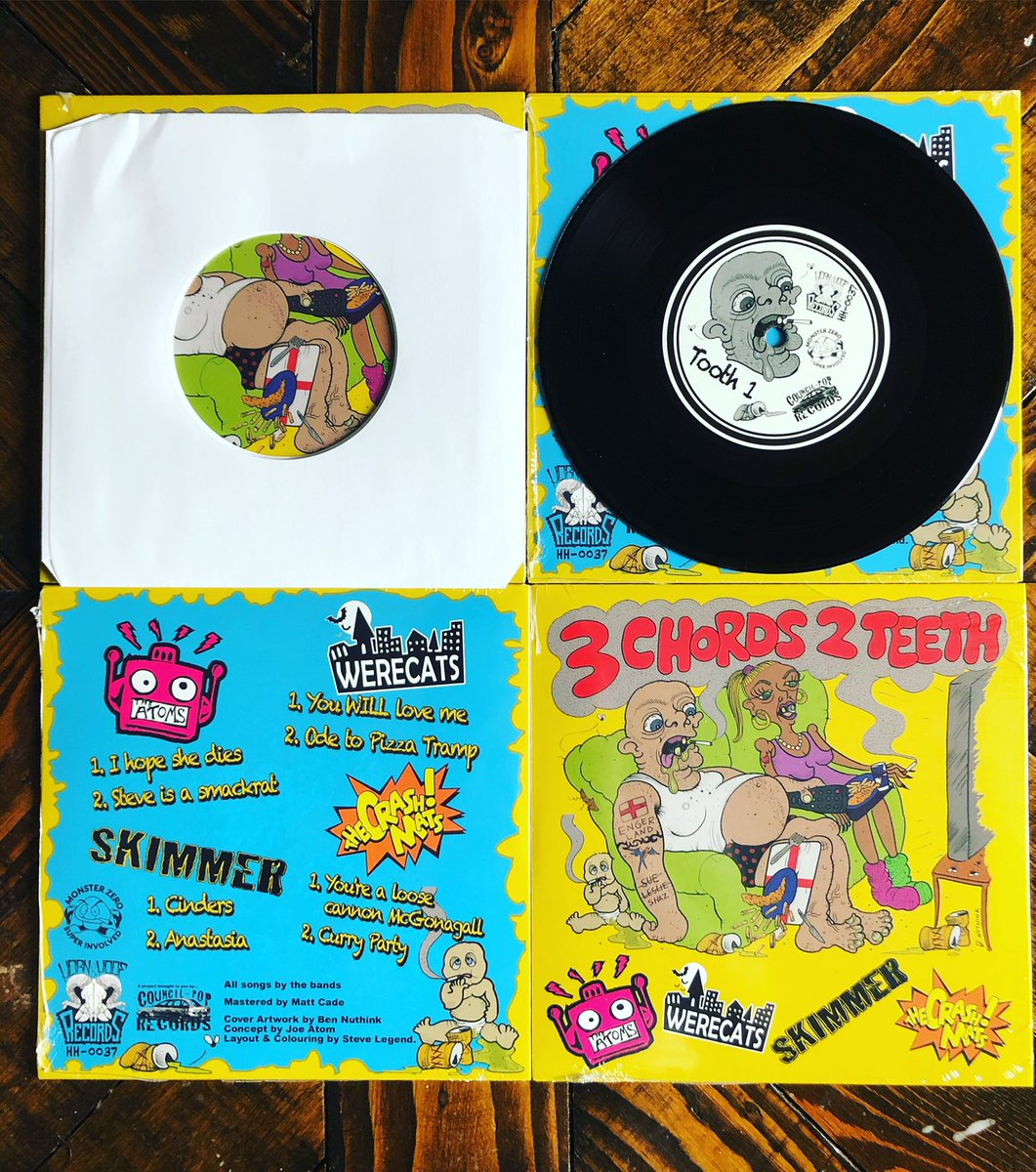 """JUST IN! """"3 Chords 2 Teeth"""" 4 way split 7"""" vinyl! The Crash Mats/ Werecats / The Atoms / Skimmer) £7 including postage  Get yours now, we only have 40 of these to sell, so click here https://hornhoofrecords.bandcamp.com/album/3-chords-2-teeth… to order yours. #punknews #VinylRevival #punkvinyl #punkrecords pic.twitter.com/O4Ka9m2cLF"""