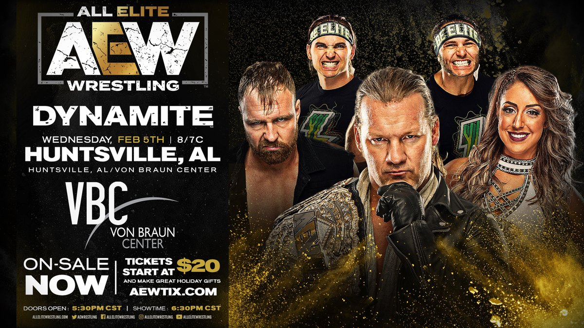 AEW Dynamite Coming To Huntsville, AL. Next Week, Tickets Still Available