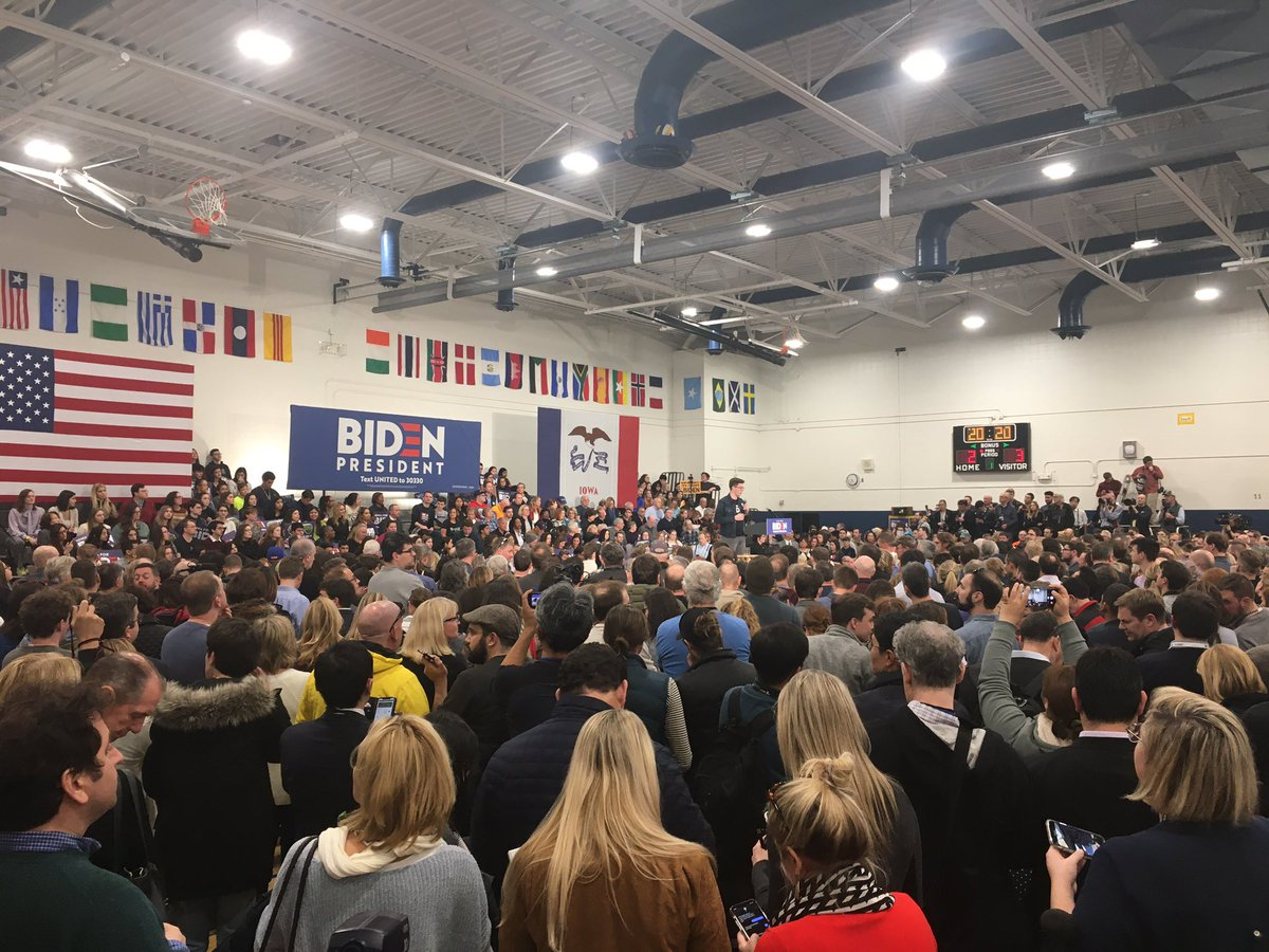 Biden rally in Des Moines starting an hour before the Super Bowl.