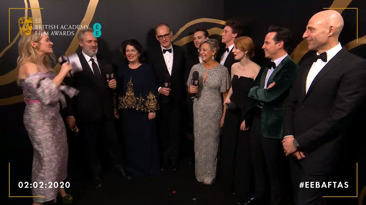 It's a @1917FilmUK party backstage at the #EEBAFTAs tonight! 💃 Have a watch of the team's winners' interview here… #BAFTAs
