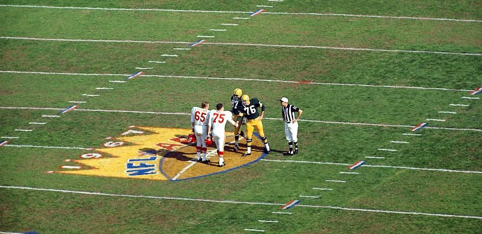 Super Bowl I coin toss.