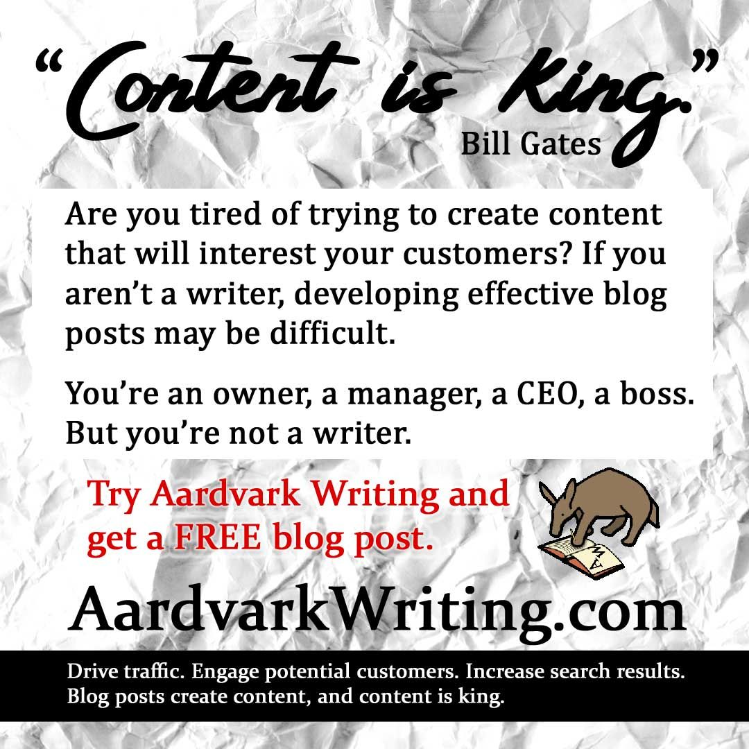 Tired of writing and rewriting? We can help. Get a free blog post when you try Aardvark Writing. https://buff.ly/3biBX9z  #businesswriting #blogposts #bloggingtips #blogwriting #businessblog #businessservices pic.twitter.com/9cYVnzo03B