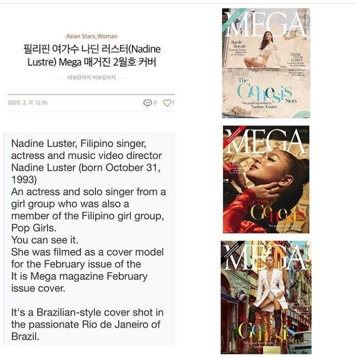 just find it amusing that #NadineLustre is featured in a korean e-mag. effortless! with performances in d us, eu,  indonesia, abu dhabi & her most recent recognition in d aaca in singapore. she's slowly gaining ground 2wards what others long for: an international career <br>http://pic.twitter.com/EqaFnvS7r0