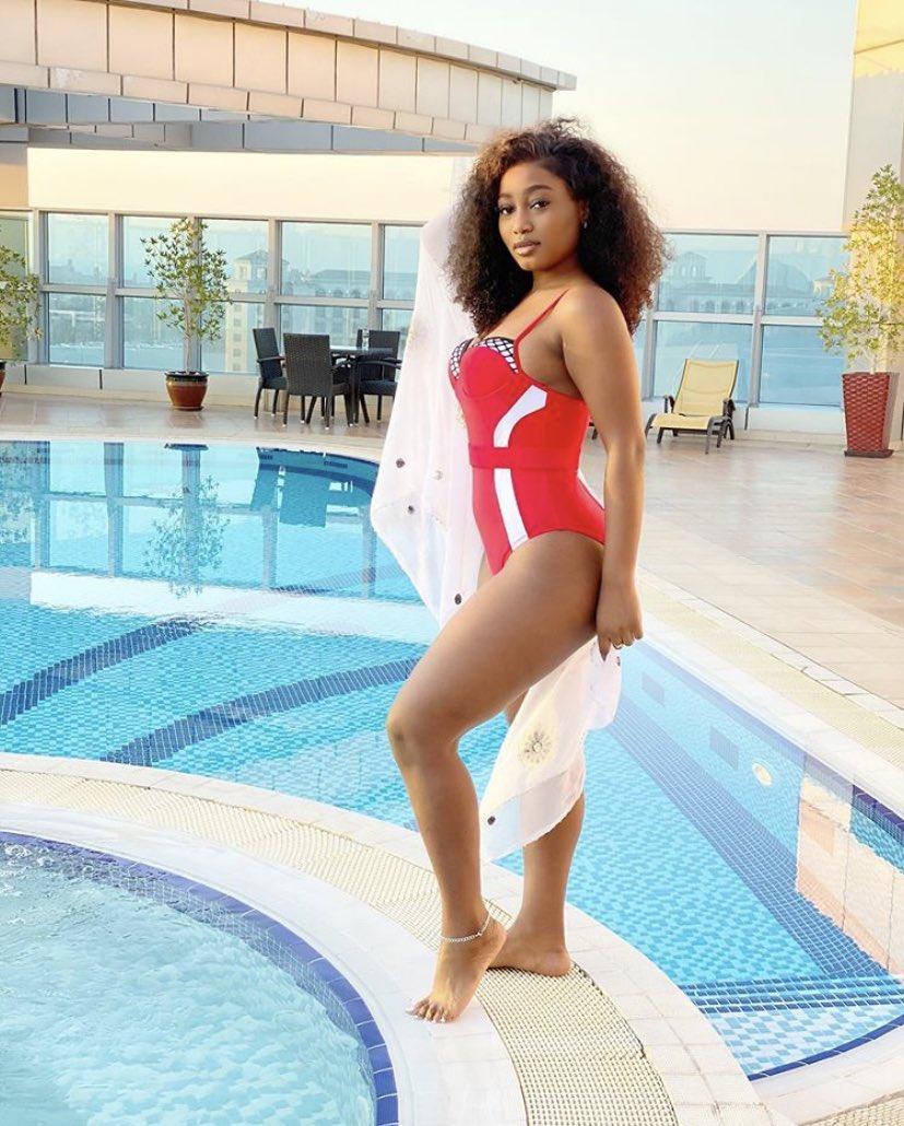 Esther in a sexy red swimwear ❤️❤️❤️❤️🔥🔥  👩🏽🦱 @esther_biade   #ZenMagazine #bbnaija #bbnaijaupdates