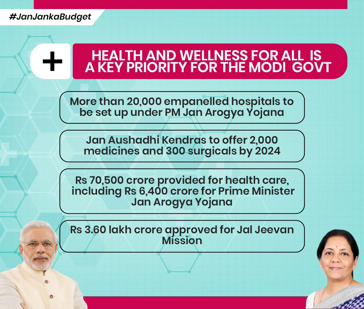 Health and weakness for all is a key priority for the modi govt. @nsitharamanpic.twitter.com/SqmpmvQJwK