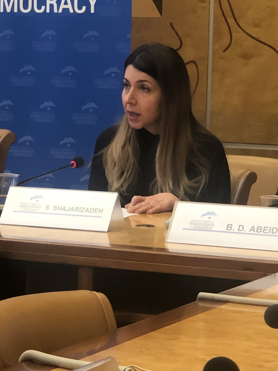 Now speaking at the #gs2020: @shaparakshjr, #WhiteWednesdays activist from Iran, who was repeatedly arrested and beaten by regime forces before she managed to flee the country. <br>http://pic.twitter.com/Y93tjJgMio