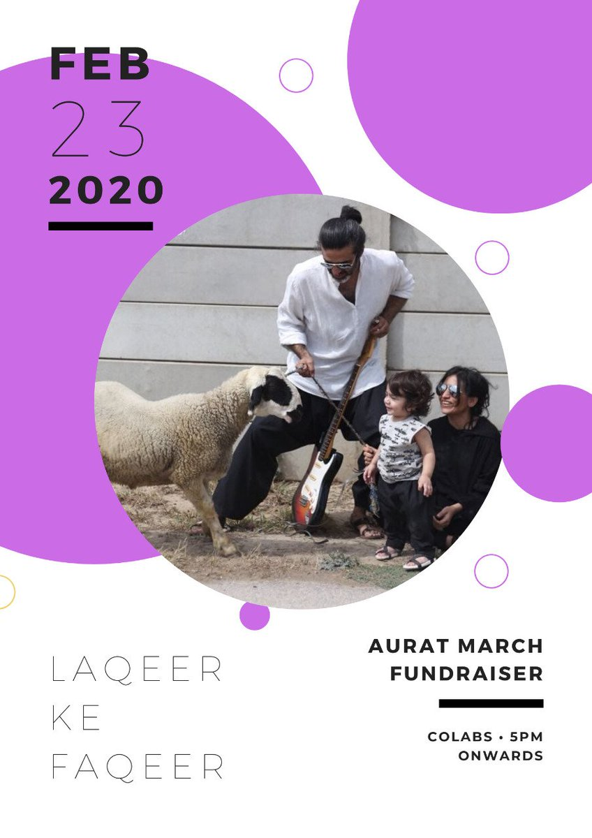 Introducing the first artist for the #AuratMarch2020 fundraising musical evening on Sunday — Laqeer ke Faqeer! Laqeer ke Faqeer is a husband-wife duo who call themselves singing poets. They make light of the nuances and greys we struggle with to make sense of the everyday.