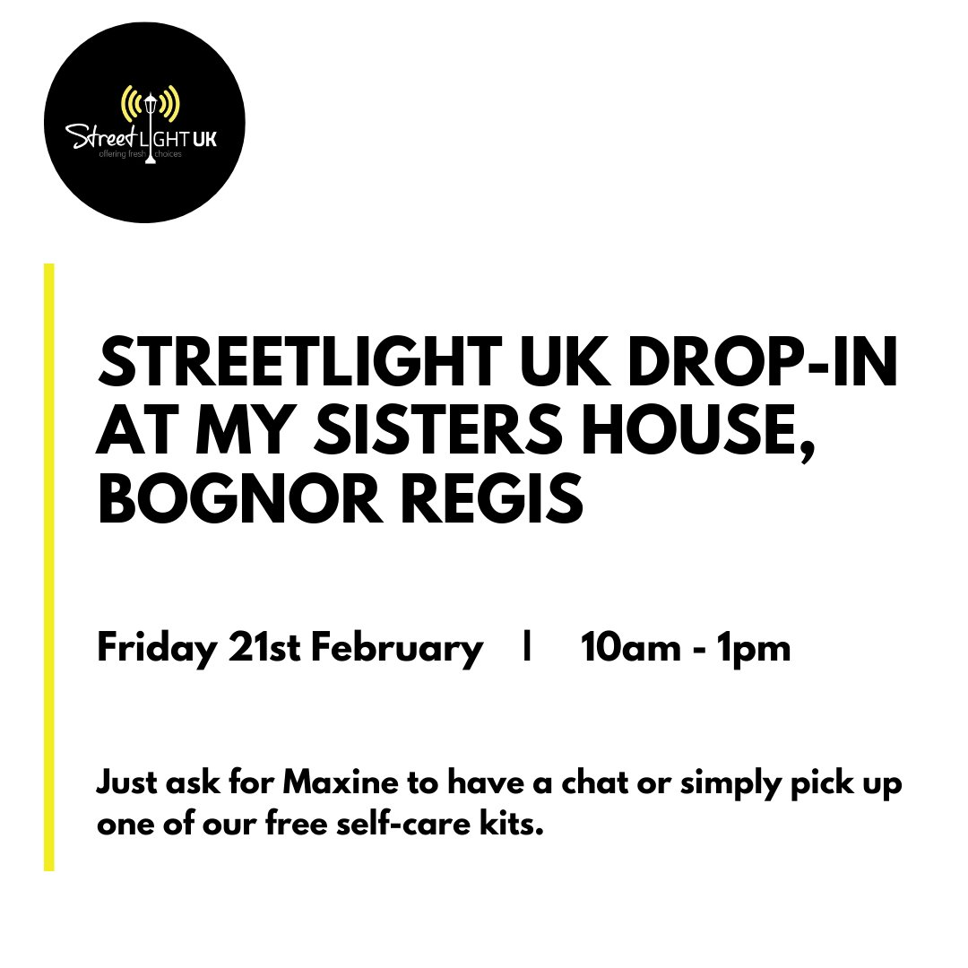 THIS FRIDAY Streetlight UK are going to be at #MySistersHouse in #BognorRegis . Come along for a chat with our Senior Women's Support Worker Maxine over a lovely hot drink or for a free self-care kit!   #selfcare #support #streetlightuk #endexploitation #chat #womenssupport