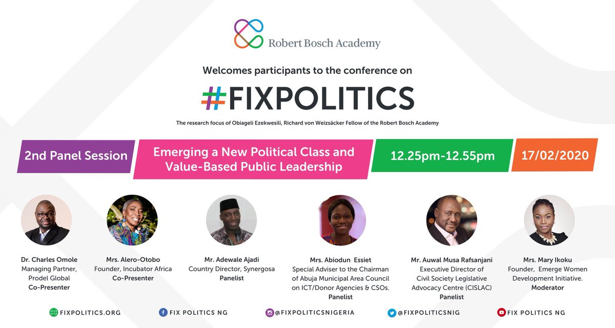 "Panel Two: @ReformersArise @DrCOmole @omoluwabi @AbiodunEssiet @auwal_musa will present their group work and discuss on ""Emerging a New Political Class and Value-Based Public Leadership"", moderated by @maryikoku .   Join our livestream: https://t.co/GQs6OErxt0   #FixPoliticsNG https://t.co/7mhMw7boLd"