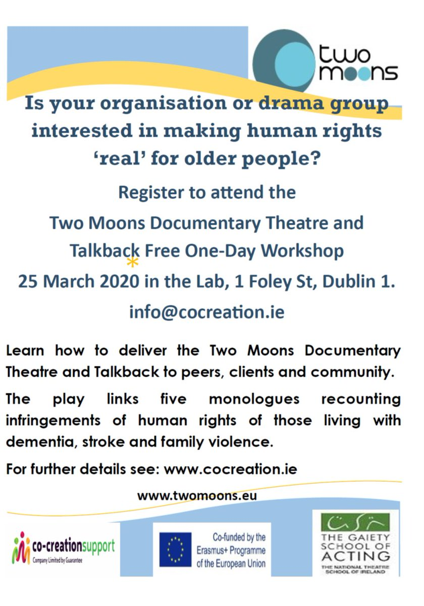 Advocates, educators, public bodies: make #HumanRights 'real' for those living with dementia, stroke, family violence and ageism register to participate in #2moons documentary theatre workshop with @Gaietyschool.pic.twitter.com/61HEyxakXB