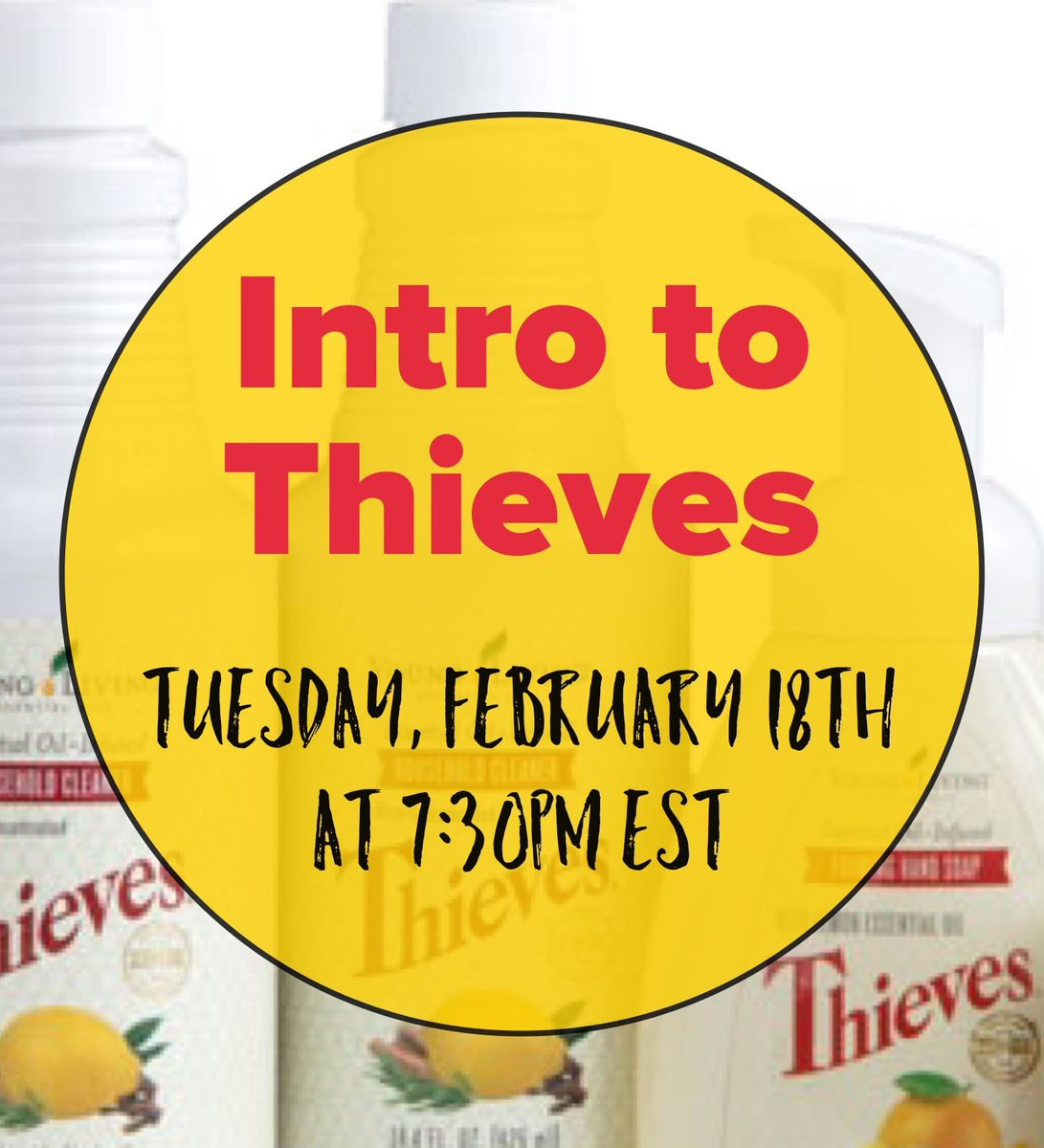 🧽 Looking to go #GREEN & create a chemical free #home?  Intro to Thieves! - TOMORROW, Feb. 18, 7:30pm EST 🗓  Topic: Thieves line of #naturalcleaning products.  Friends, message me for link where class is being held. Limited spots available.  #thieves #freeclass #essentialoils