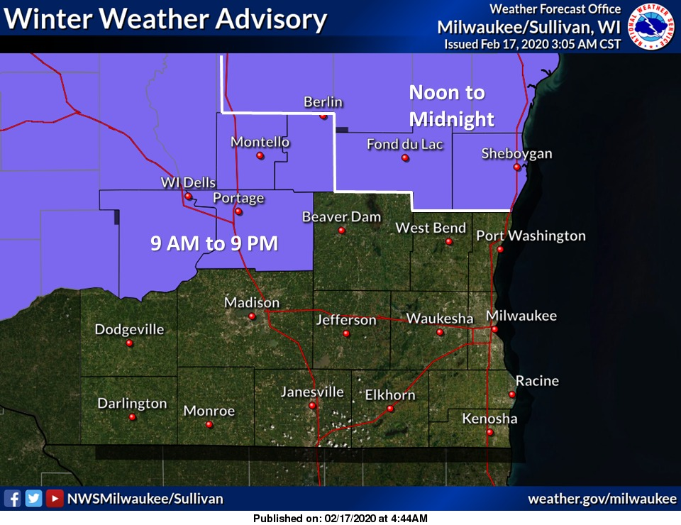 Slick travel conditions are possible toward central WI this afternoon and evening. #swiwx #wiwxpic.twitter.com/eUAq2Y4PAj