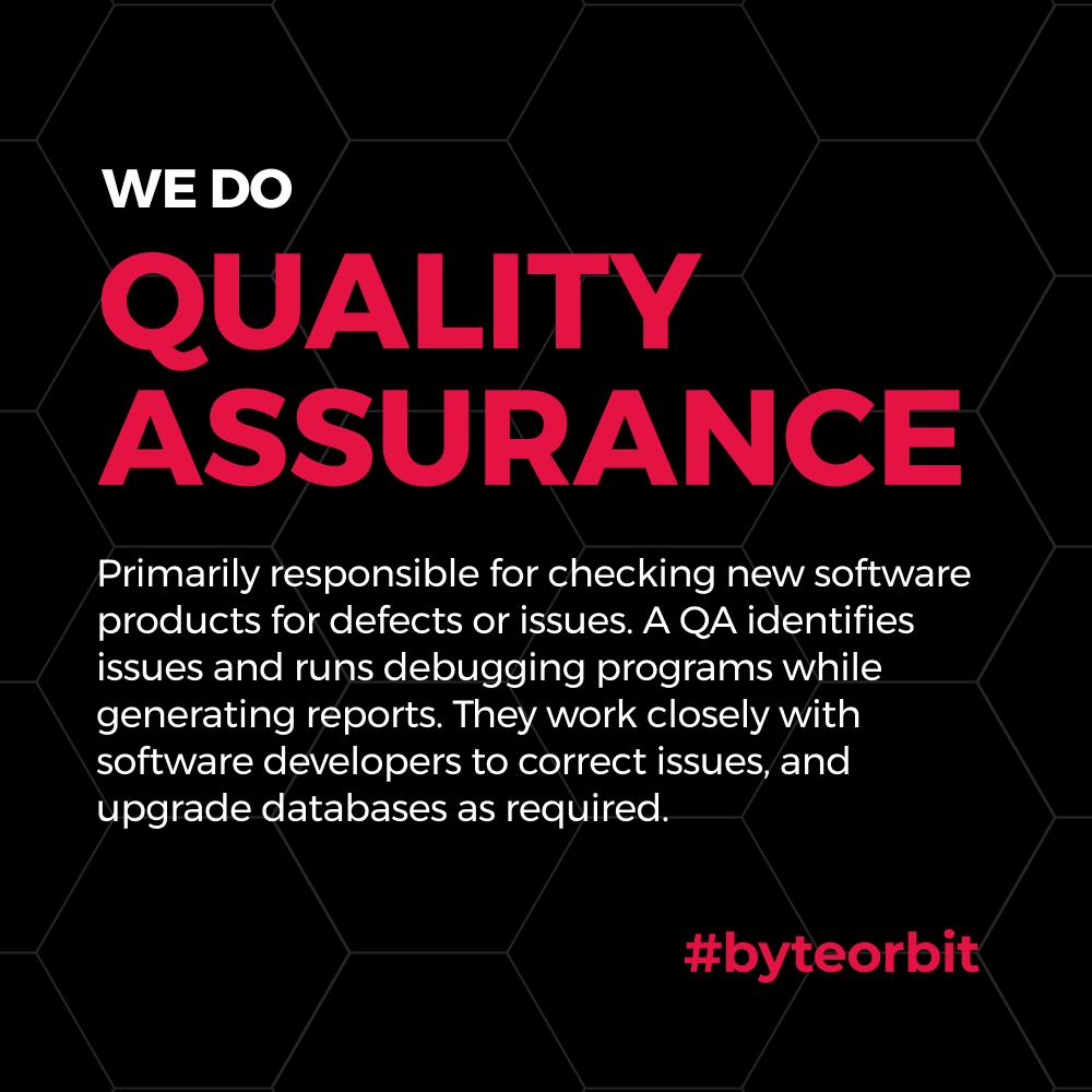 We do Quality Assurance!  #QA #qualityassurance #automation #python #testers #customerservice #softwaretesting #bugs #software #development #product #testing #discover #design #deliver #byteorbit https://t.co/6Sj9xpsraN
