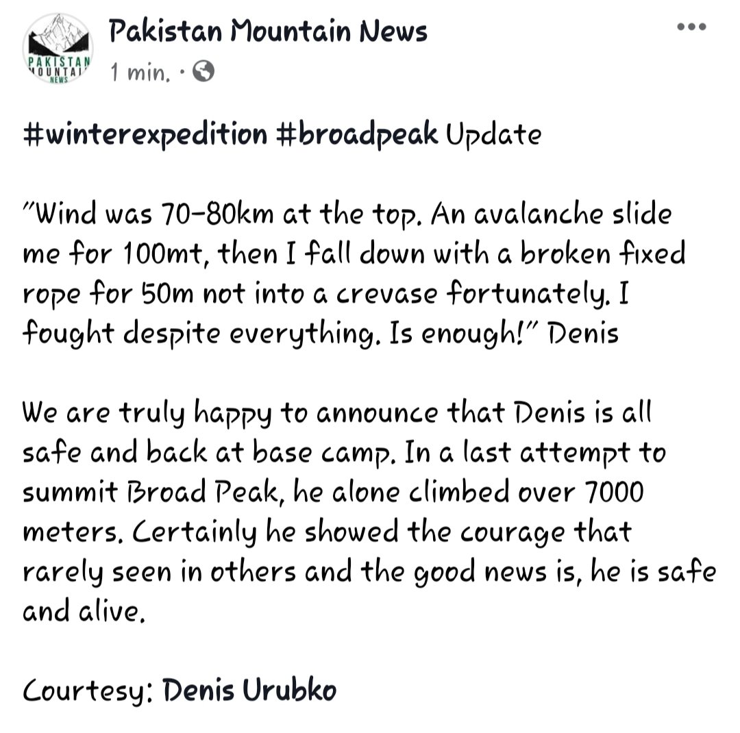 "#winterexpedition #broadpeak Update   ""Wind was 70-80km at the top. An avalanche slide me for 100mt, then I fall down with a broken fixed rope for 50m not into a crevase fortunately. I fought despite everything. Is enough!"" Denis  Courtesy: Denis Urubko  #BPK2winter #karakoram https://t.co/AfzFmHtshM"