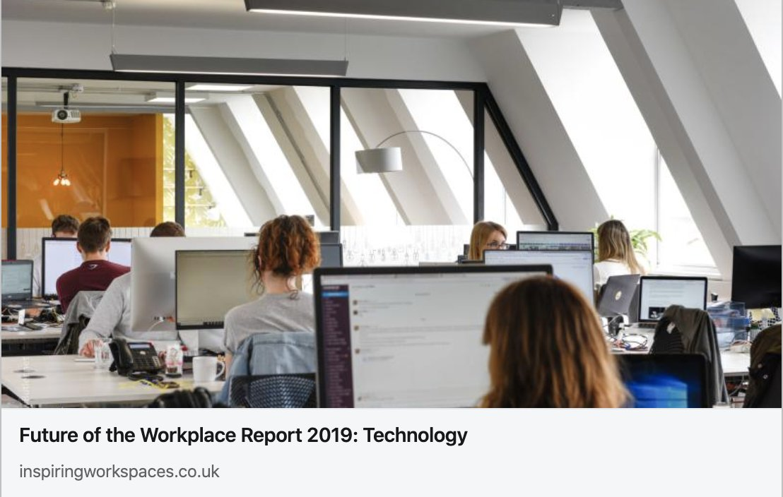 The Future of the Workplace report highlights the increasing use of technology across all workplaces.    Read the full blog about the future of technology in the workplace here: https://bit.ly/2SA9EMi  #technology #futureoftechnology #workspacedesign #officedesign #futureofworkpic.twitter.com/XRVsTOLz8e