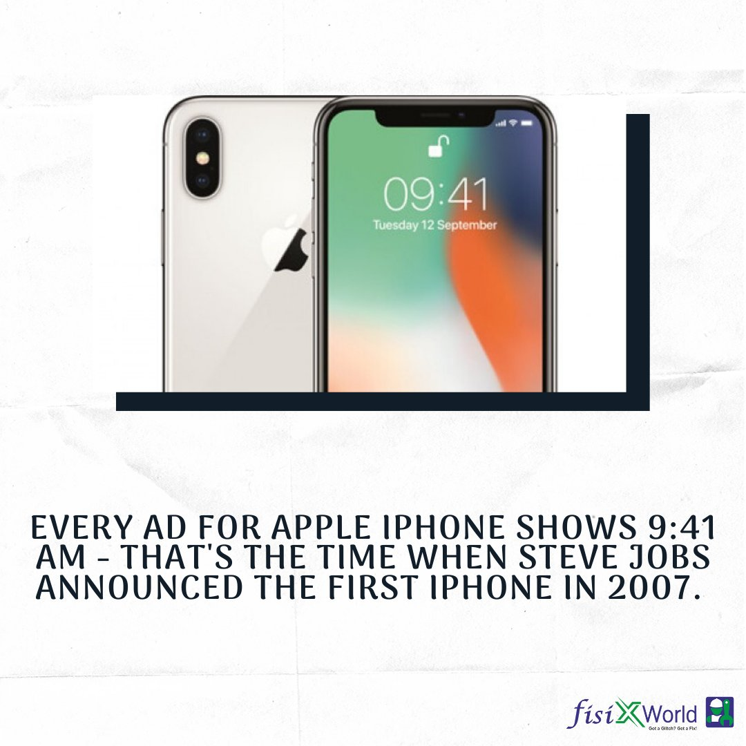 Every ad for apple iphone shows 9:41 am - that's the time when steve jobs announced the first iphone in 2007.  #iphone #didyouknow #fisixworld #apple #iphonex #smartphone #mobilephone #facts #factstime #factsworld #techfacts #technologypic.twitter.com/hTzm3GTXBD