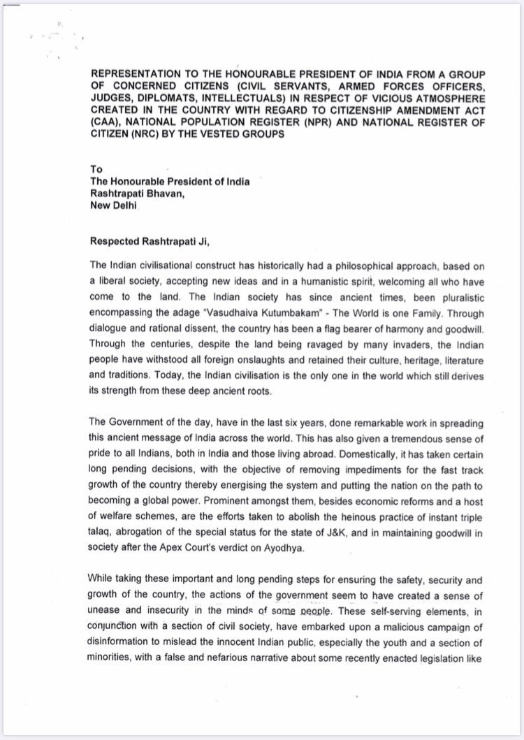 154 eminent citizens, including former judges, retired bureaucrats, diplomats, ex officers of the armed forces sign a petition against the vicious atmosphere created by vested interests in the guise of opposition to CAA, NPR and NRC. Do read.