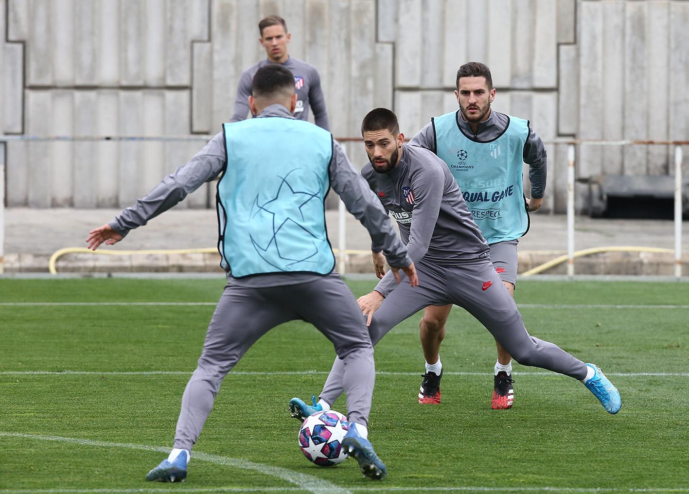 Carrasco y Koke, en la sesión de este lunes (Foto: Atlético de Madrid).