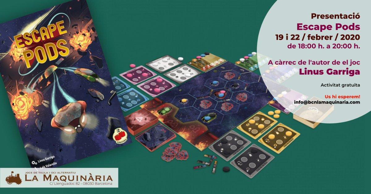 """Aquesta setmana, l'autor de el joc """"Escape Pods"""", Linus Garriga (@Lokis67017236), ens visita per presentar el seu joc a La Maquinària i ensenyar-vos a jugar. Us hi esperem! @ G4MES4G4MERS #JocsDeTaula #Boardgames #TempsLliure #Oci #AprendreAJugar #Barcelonapic.twitter.com/viv4A2b1Mc"""