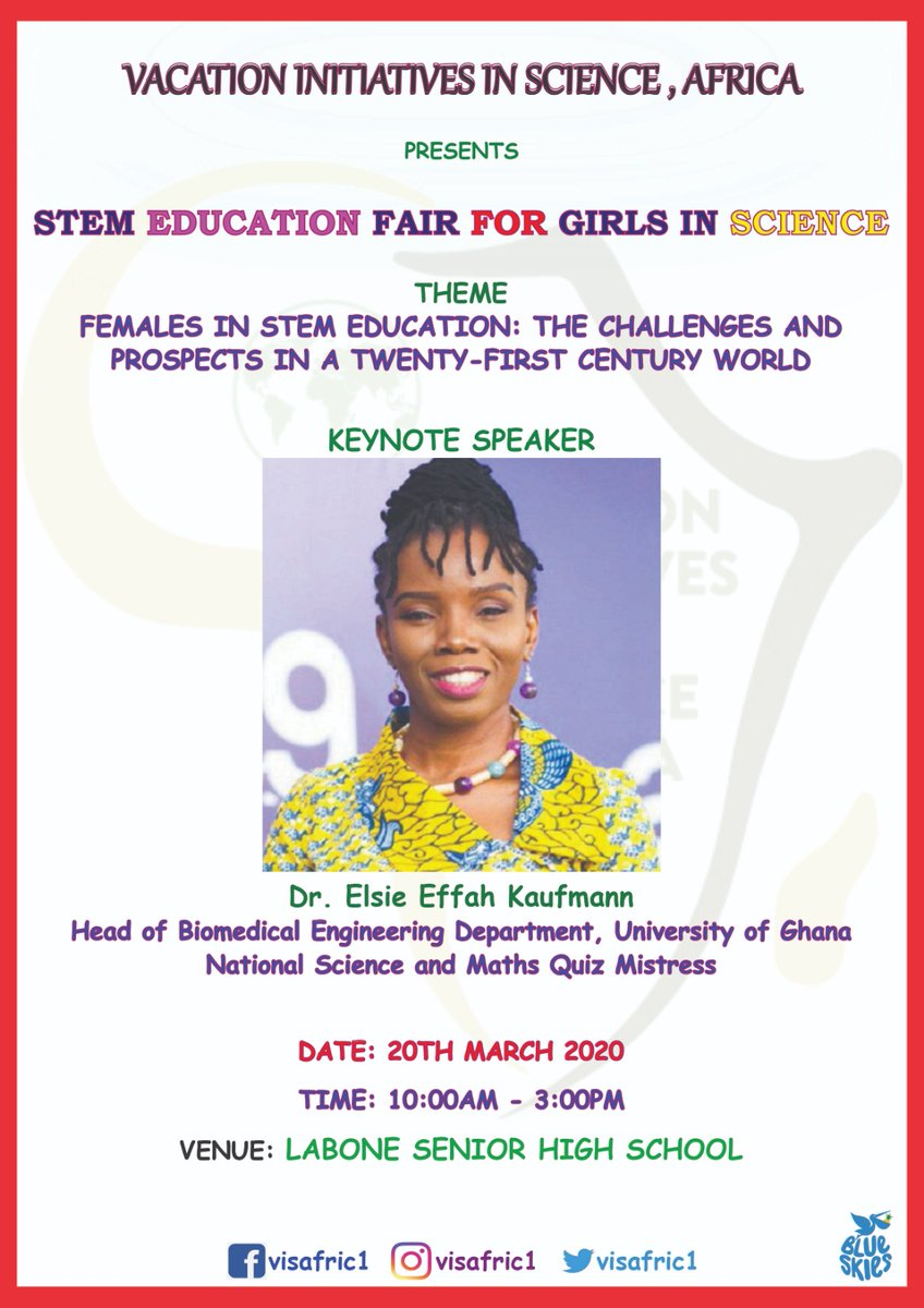 She has always been a strong promoter of WOMEN IN STEM.... Present at our mentorship session at Labone Senior High school on 20th March, 2020 is the Quiz mistress for National Science and Maths quiz, Dr. Elsie Effah Kaufmann. To all ladies in Science, come all #WomenInSTEM<br>http://pic.twitter.com/GK7mUem10T