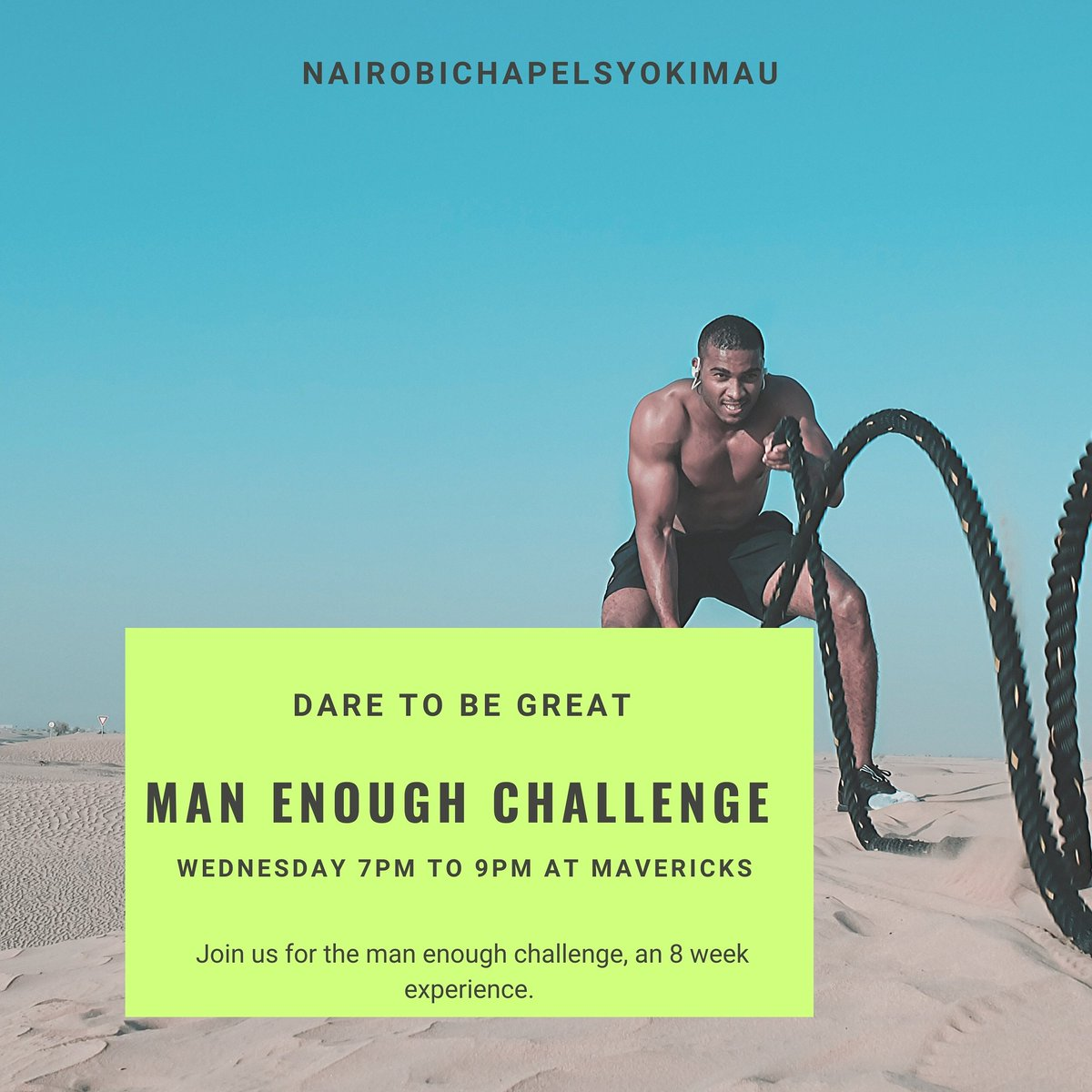 Man Enough Challenge, Syokimau Edition. Launching on Wednesday 7Pm to 9pm at Gateway Mall, Mavericks Restaurant. If your in Syokimau join using this link. #syokimau #manenough #Nairobichapelsyokimau  https://chat.whatsapp.com/E9WetN3EtmOHaxwtrwrlaM …  #CHEMUNpic.twitter.com/Tt0EeUS539