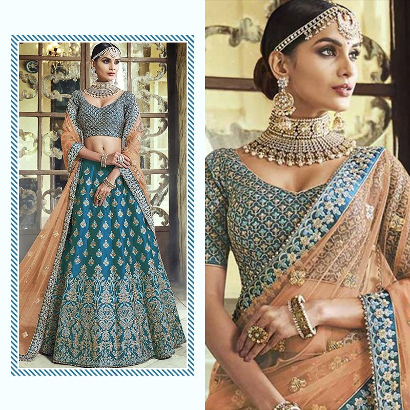 Encrusted with sparkling stones and beautified with elaborate zari and Resham embroidery dress of bridal lehenga in blue, visits heavily beautified choli is a head turner artpiece.  Buy now: https://buff.ly/2wis3EB  #bridal #lehenga #bluedress #panashindia #buyonlinepic.twitter.com/mZyzMbYhaf