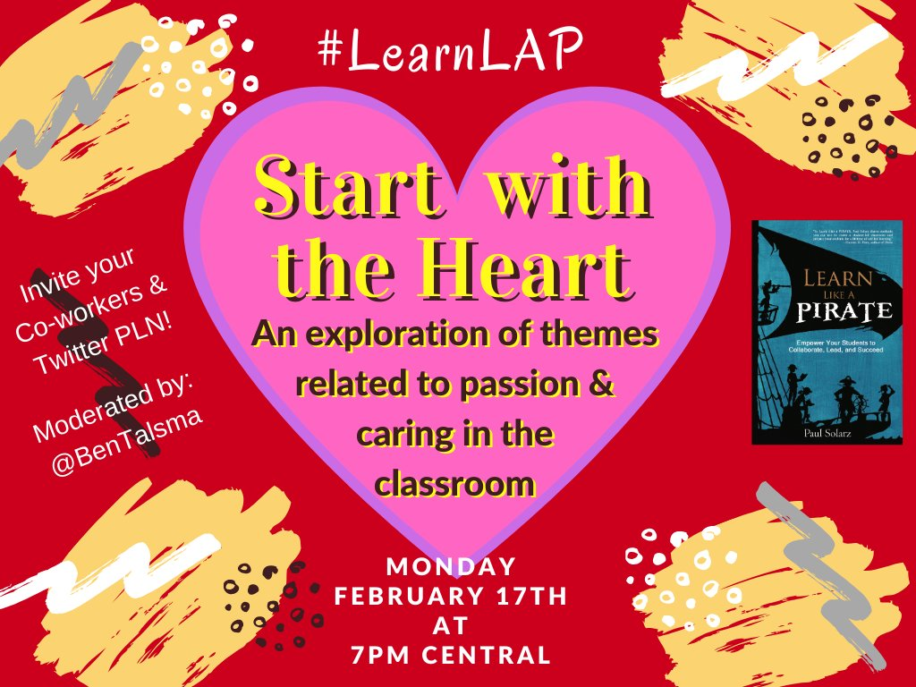 Join us TONIGHT at 7pm Central for #LearnLAP as we celebrate #RandomActsofKindnessDay & Valentine's Day! Lots of fun to be had!  #CelebratED #MakeEdReal #122edchat #tlapdownunder #tnedchat #1stchat #21stedchat #2ndaryela #2ndchat #2pencilchat #323learns #3rdchat #40CFPLN #XPLAP