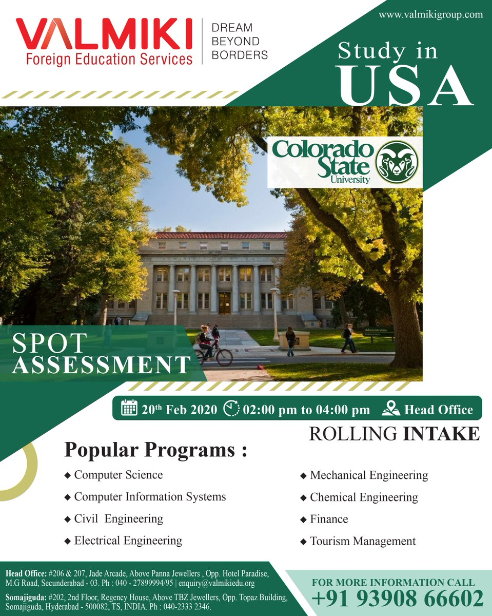Apply now and you could start at Colorado State University in 2020.  Call/WhatsApp: 9390866602 Or Register: https://bit.ly/2BLogQ6   #studyinUSA #StudyAbroad #StudentVisa #ieltscoaching #AbroadStudy #visaassistance #studyinabroad #USAeducation #studyvisaconsultants #USAstudyvisapic.twitter.com/dCdK0un4jV