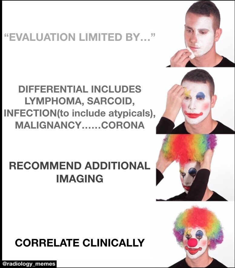 For my next act I'll pull a rabbit out of a hat—can't exclude hare, jackrabbit, elephant eared rodent or, less likely prairie dog. #memeingbringsmeaning #medicalmemes #radiologymemes #medicine #radiology #memes #meme #clowningpic.twitter.com/MA588bcuTm