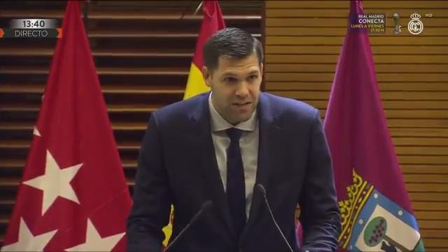 💬🏆🏛 ¡El discurso de nuestro capitán @9FelipeReyes en el Ayuntamiento de Madrid! #CAMPEONES28 | #HalaMadrid