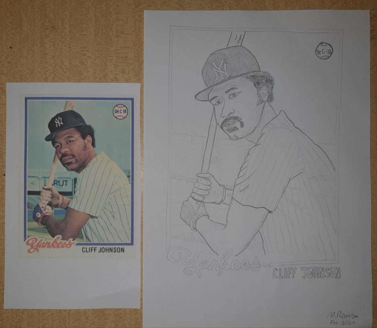 For today's drawing, I decided to pencil sketch native Texan and former #Yankees' utility player Cliff Johnson, best known for providing power in the batter's box and scrappin' in the locker room.#NYY #BronxBomberspic.twitter.com/Jf5OTH1j8G
