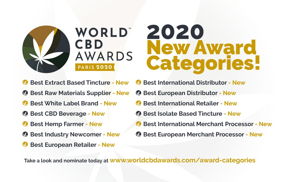 "Take a look at our new Nomination Categories as this year we have expanded our search to find the ""Best of the Best"" on a grander scale!   Nominate Here! https://www.worldcbdawards.com/award-categories …  #NewNominations #WorldCBDAwards #bestofthebest #settingstandards #venue #cbdsaves #cbdwellness pic.twitter.com/ZPSYHb6Wu6"