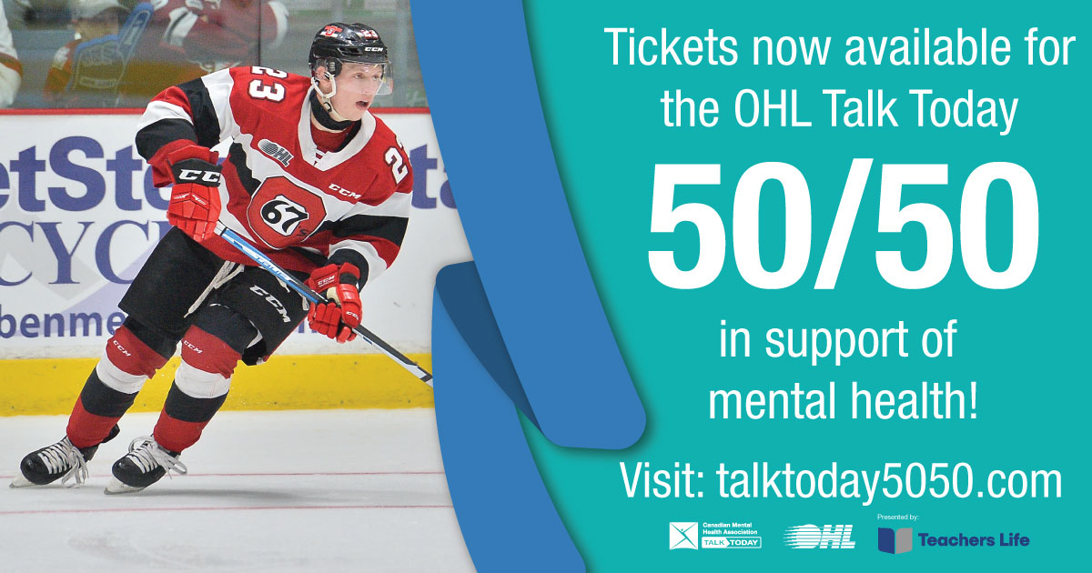 test Twitter Media - Tickets are now available for the OHL Talk Today 50/50 in support of #mentalhealth! All proceeds go to the @OHLHockey and @CMHAOntario's #TalkToday program presented by @TeachersLifeCAN. Learn more at: https://t.co/Uqxht3ClPz https://t.co/60cdoFcQW1