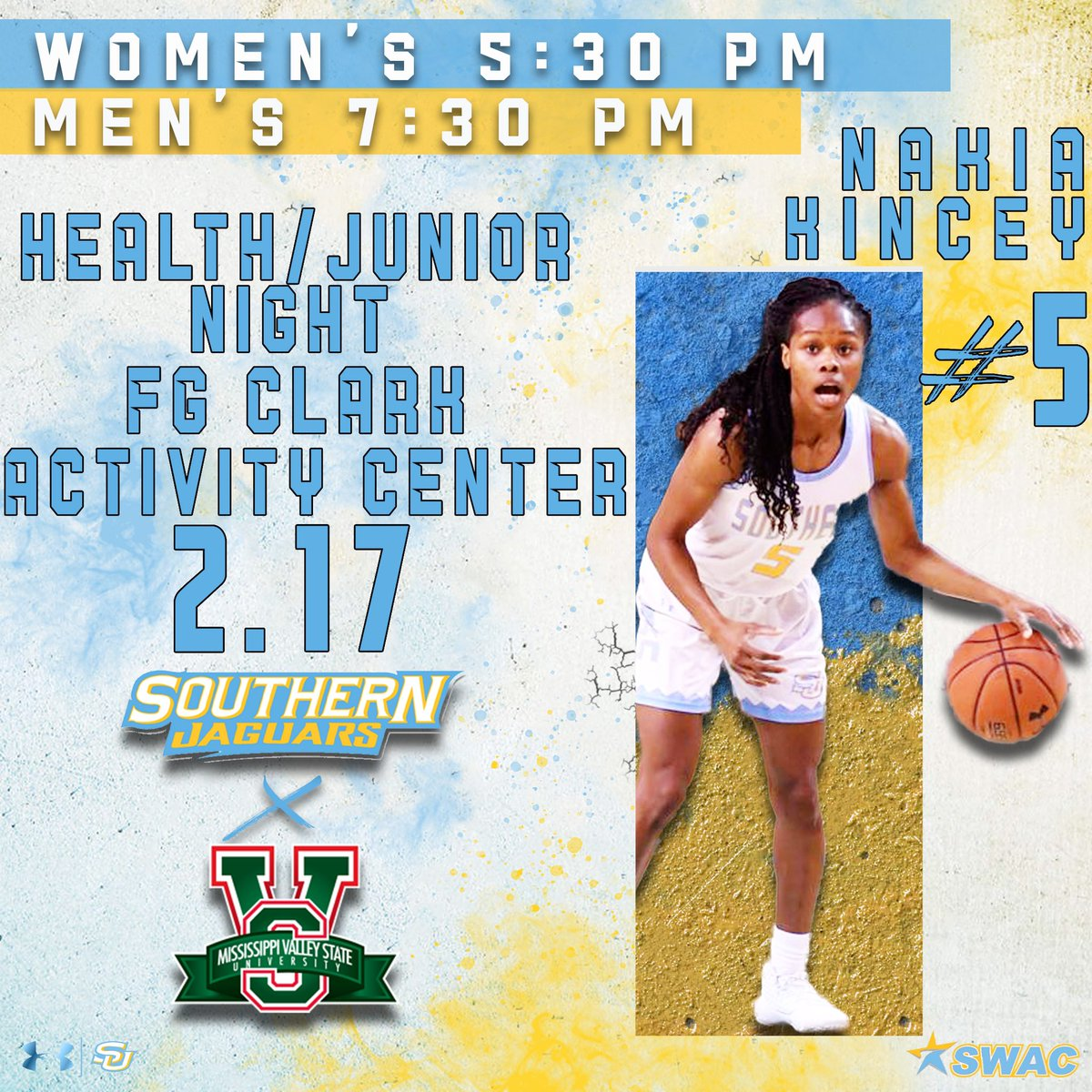 Jaguar Fans,  Join us TONIGHT for Health/Junior Night as the Jaguars face Mississippi Valley at 5:30pm and 7:30pm. Group tickets can be purchased at the ticket office or via phone at 2257713171. #GoJags pic.twitter.com/QumfktBRmu