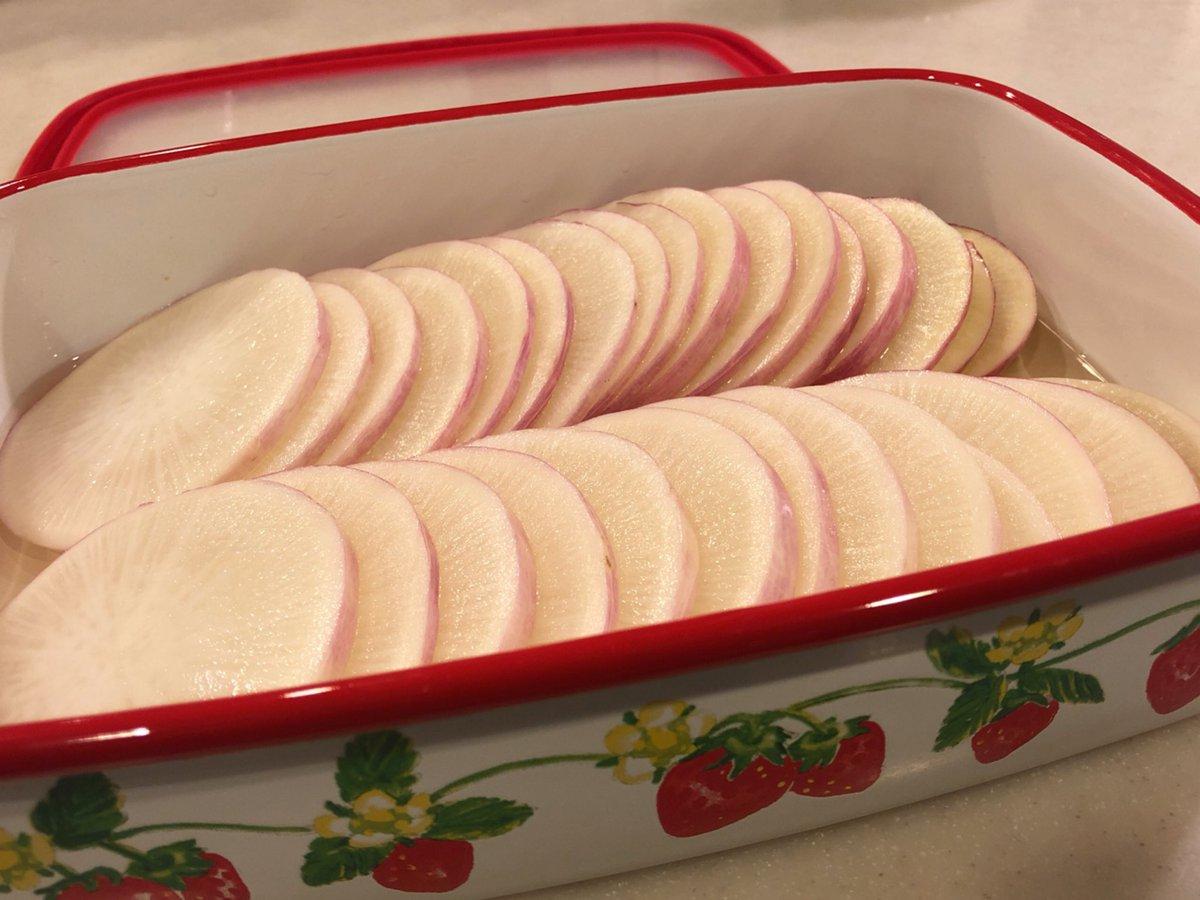 あやめっ娘大根の甘酢漬けいちごのホーロー容器がかわいいから見て!#常備菜