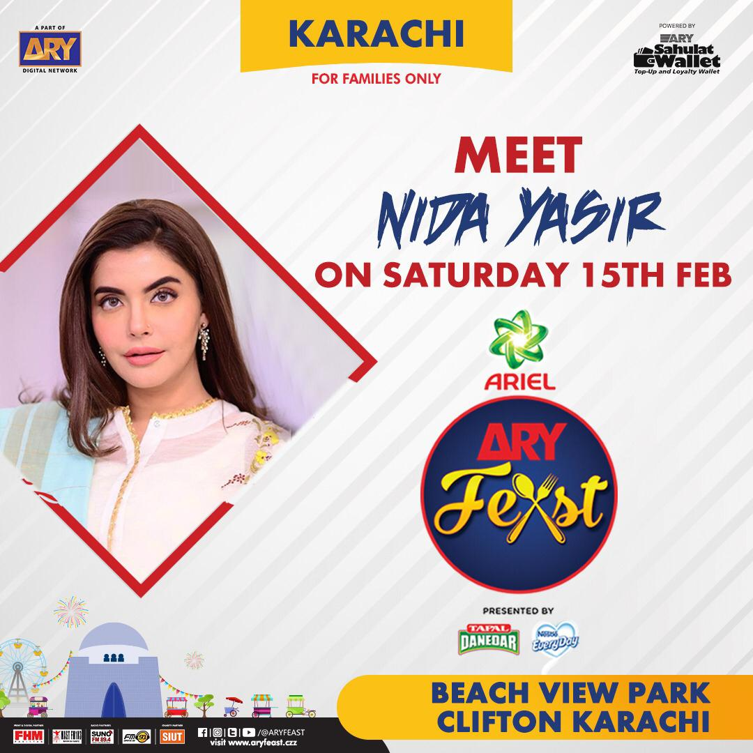 Meet #nidayasir tonight at Pakistan's Biggest Family Food & Music Festval #ARYFeast #Karachi  So, don't miss out the chance to join us from 14-16 Feb 2020 at #BeachViewPark ,Clifton  #Follow @aryfeast for more updates #ARYDigitalNetwork #FamilyFestival #FoodFestival @itsnidayasirpic.twitter.com/VLoZtOB1g5