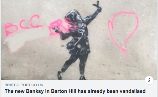Amused by the concept of graffiti being vandalised. #Banksy