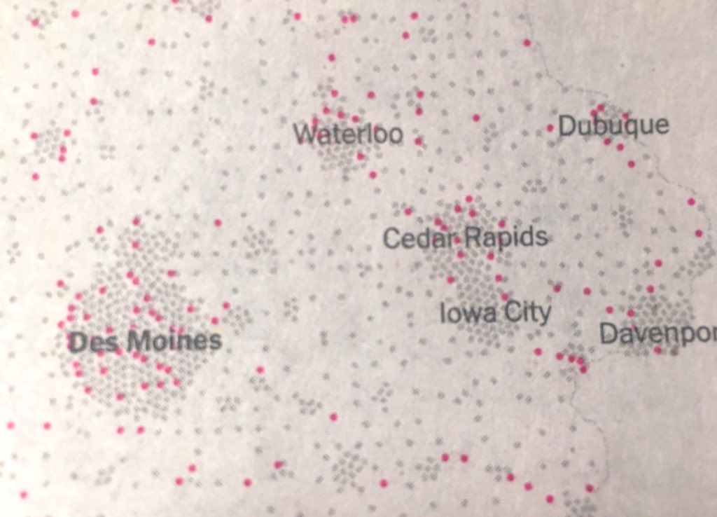 Red dots are precincts with mistakes. IC has their shit together. Come on Des Moines.