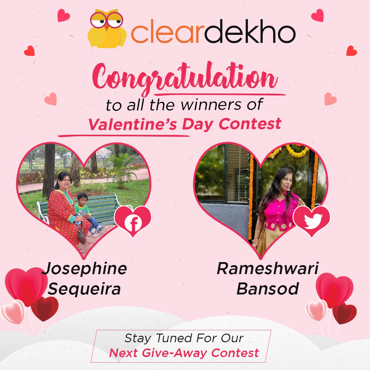 Congratulations To The Winners Of ClearDekho Valentine's Day Contest! Thank You All For Participating! Stay Tuned For Our Next Contest! @capreena1947  #ContestAlert #Valentines2020 #winners #freebies #startup #Entrepreneurship #franchise #retail #Trending #SaturdayMotivationpic.twitter.com/xjd0TImVYJ