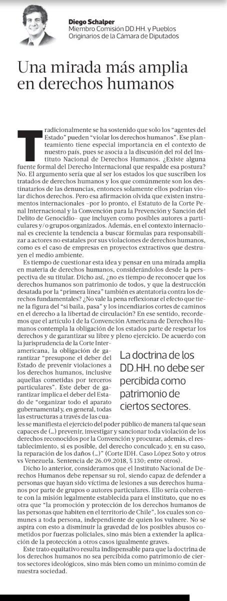 El Diputado @Diego_Schalper vuelve a utilizar su tribuna pública para entregar información falsa o tergiversada sobre el Derecho Internacional de los Derechos Humanos.Como siempre, es necesario hacer varias aclaraciones:
