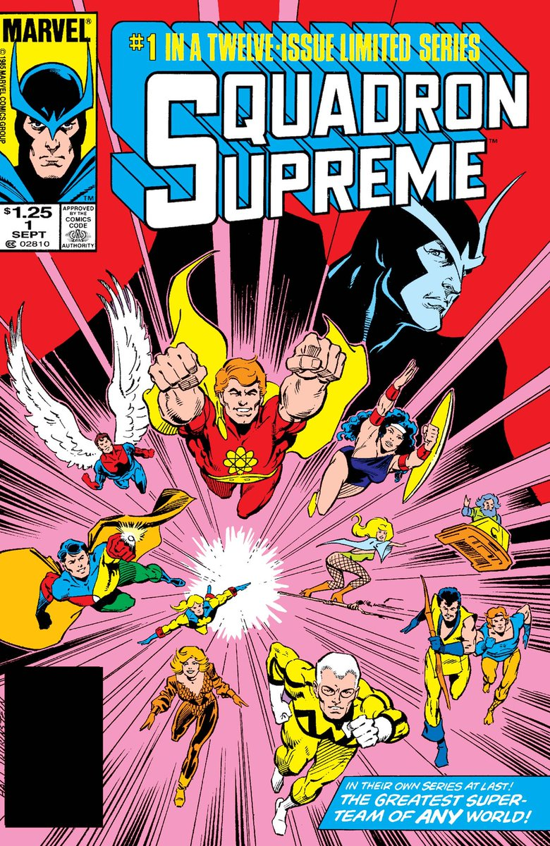 The cover to Squadron Supreme # 1 of 12 by Bob Hall & Joe Rubinstein. The greatest super team of any world in their own series at last! #bobhall #joerubinstein #markgruenwald #squadronsupreme #marvelcomics #thecosmiccomicbookbroadcast #comicbookbroadcaster #ICON #comicbooks pic.twitter.com/AbMFbSi26W