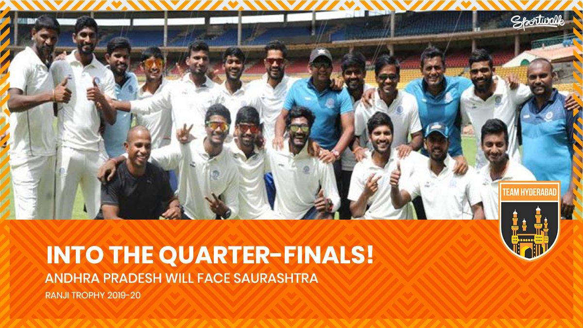 😎🔥QUALIFIED! Andhra Pradesh will face Saurashtra in quarter-final of the Ranji Trophy 2019-20.📸 BCCI | #ranjitrophy #HanumaVihari #AmbatiRayudu #HyderabadCricket  #davidwarner #warner  #Orangearmy #IPL #VivoIPL #ipl2020 #iplauction #TeamHyderabad #Cricket #Sportwalk