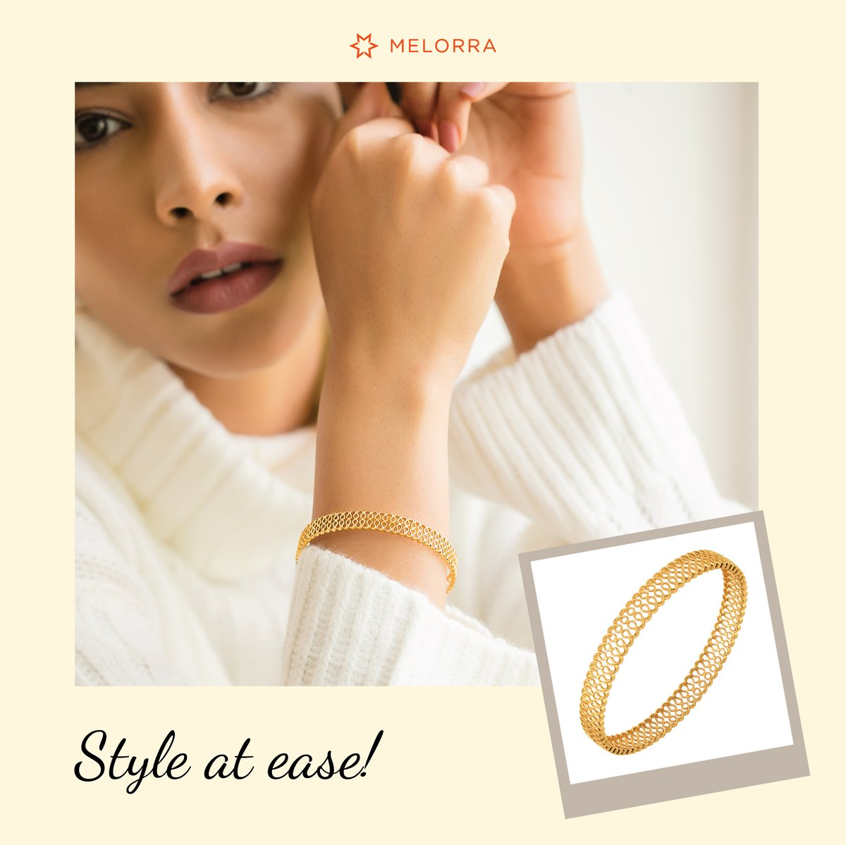 Comfort or Fashion? We say both! 😊  Choose trendy, lightweight gold jewellery from our Knitted Collection that is so comfy to wear >   #Melorra #EverydayFineJewellery #TrendInspired #GoldJewellery #AffordableJewellery #GoldBangle #KnittedCollection #Knits