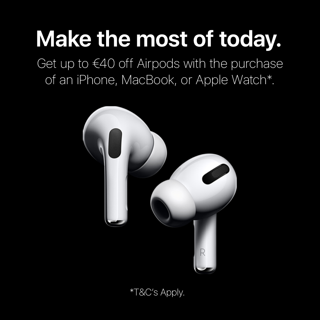 The perfect pairings.  Get the new AirPods Pro or AirPods for up to €40 off with the purchase of an Apple Watch, MacBook, or iPhone. #AirPods #AirPodsPro #AppleProducts #Apple #iConnectIrelandpic.twitter.com/e2QcV4TqZJ