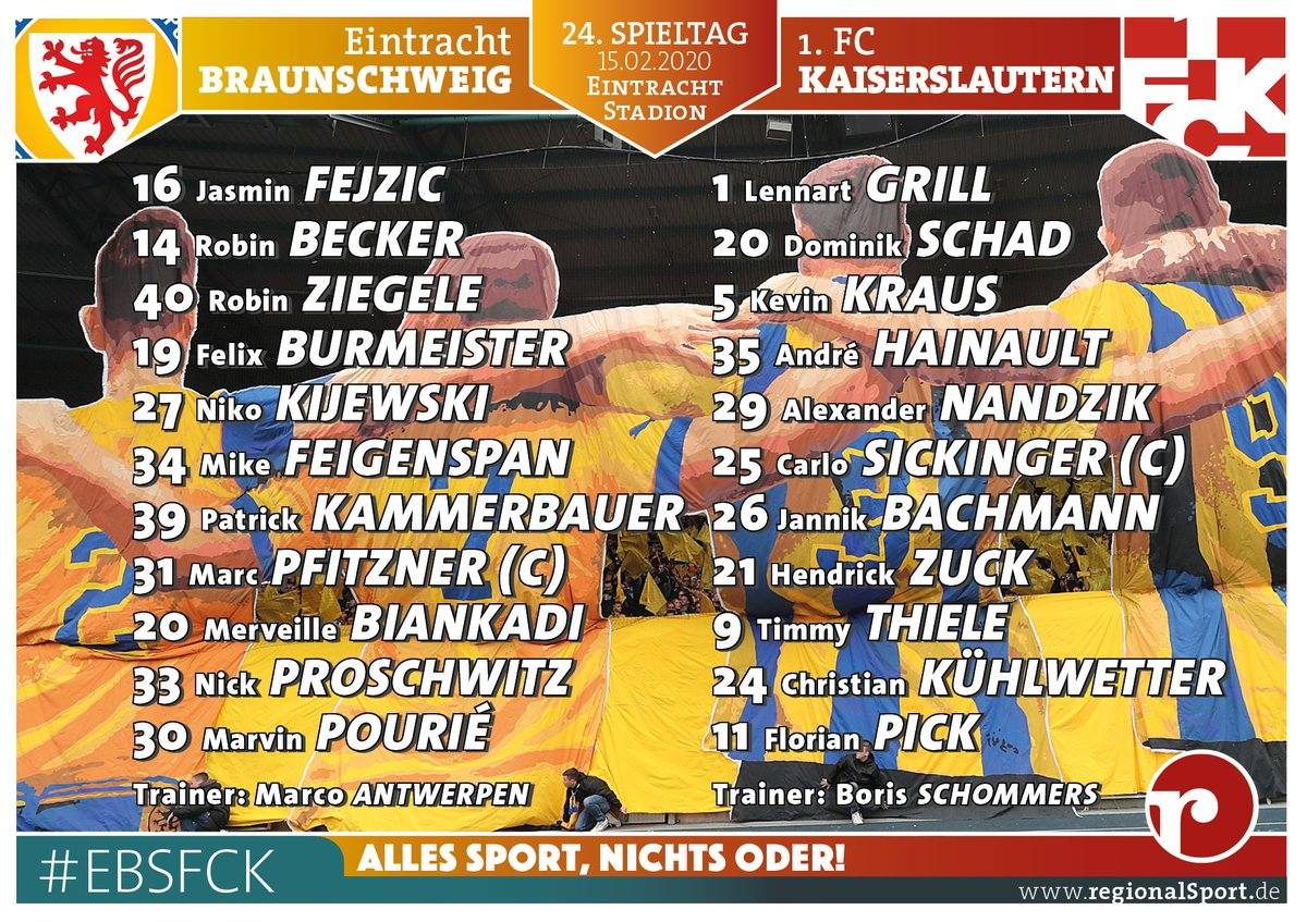 Die StartXI: @EintrachtBSNews mit #Pfitzner, #Ziegele und #Proschwitz für #Nehrig, #Kessel, #Bär und  #ebsfckpic.twitter.com/GGOxvAOQUe