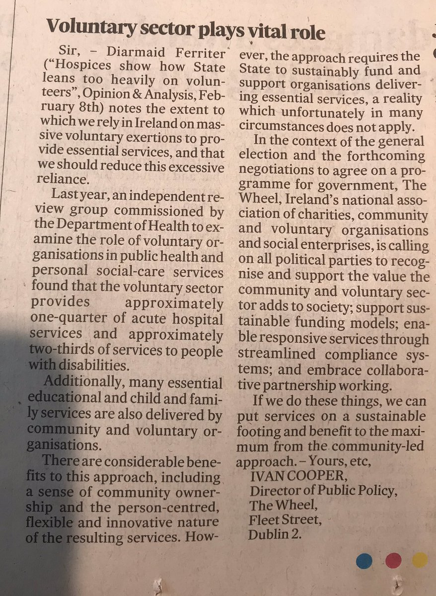 A great article by @cooper_ivan in today's @IrishTimes regarding the importance for all political parties to recognise the invaluable contribution charities all over Ireland make to our communities & society. #charity #notforprofit #communitypic.twitter.com/IuhVvowN8H