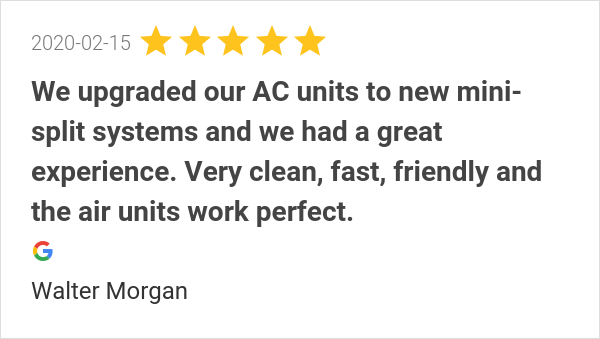 "New 5.0-star Review: ""We upgraded our AC units to new mini-split systems and we had a great experience....pic.twitter.com/Fgl8hbyO2a"
