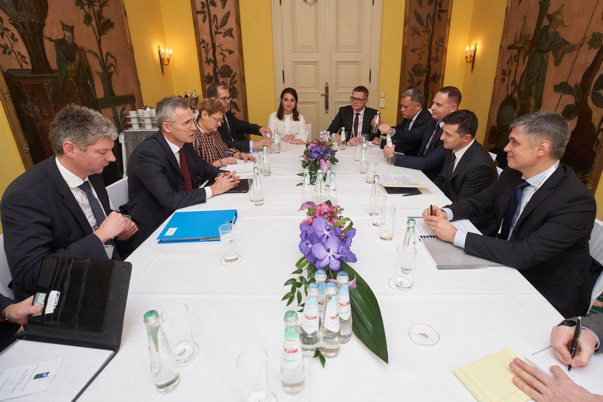 Радий мати зустріч із @jensstoltrnberg на полях @MunSecConf. Реформи, над якими ми працюємо, наближають Україну до @NATO. Ми модернізуємо сектор безпеки і оборони України.